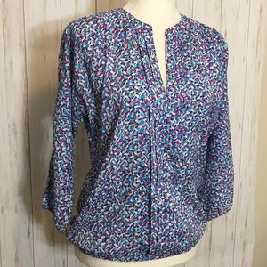 Ann Taylor Pleated Front Multi-Color Blouse